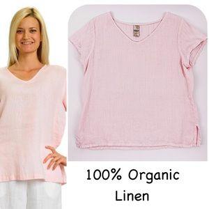 6a8fcdfe4da Linen Match Point Relaxed Light Pink Top Medium